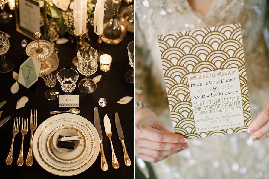 Chronique lyon mariage 31 décembre - décoration table 20's et faire-part