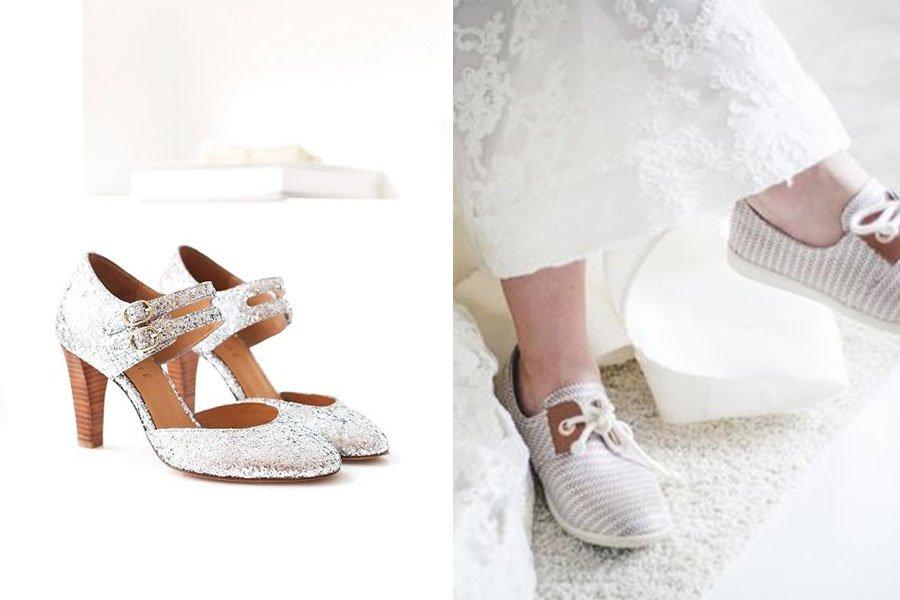 Chronique mariage à lyon chaussures d'hiver - escarpins dorés et baskets