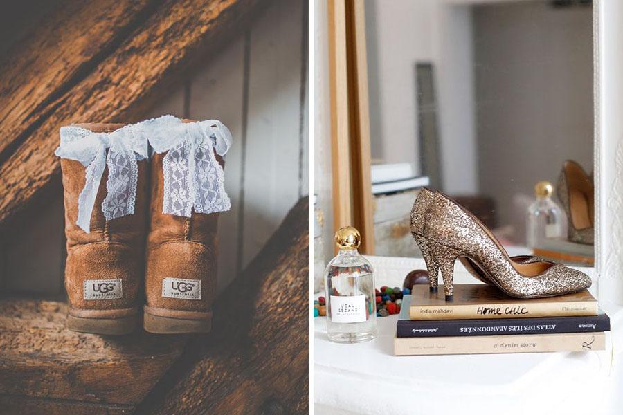 Chronique mariage à lyon chaussures d'hiver - boots et escarpins dorés