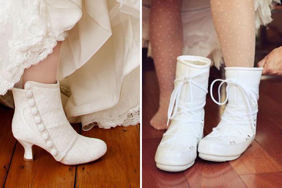 Chronique mariage à lyon chaussures d'hiver - boots blanches et bottines