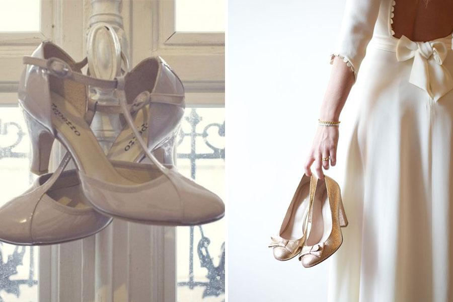 Chronique mariage à lyon chaussures d'hiver - escarpins taupe et à paillettes or