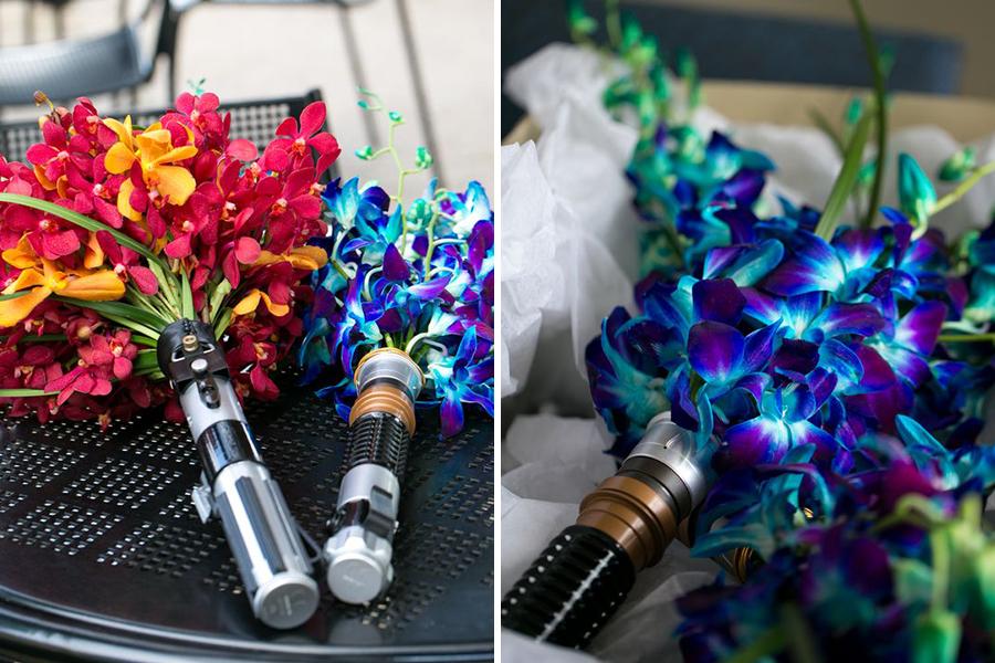 Chronique idées pour un thème mariage Star Wars - bouquet de fleurs laser