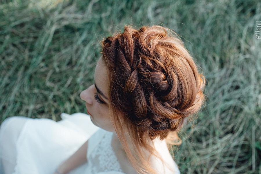 Chronique coiffure et maquillage beauty art coiffure lyon mariage rousse couronne tresse