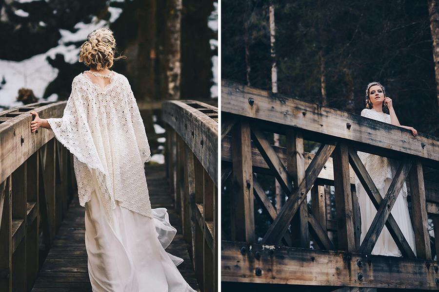 Robe de Mariée Emmanuelle Gervy collection 2018 - châle dentelle sur un pont en bois