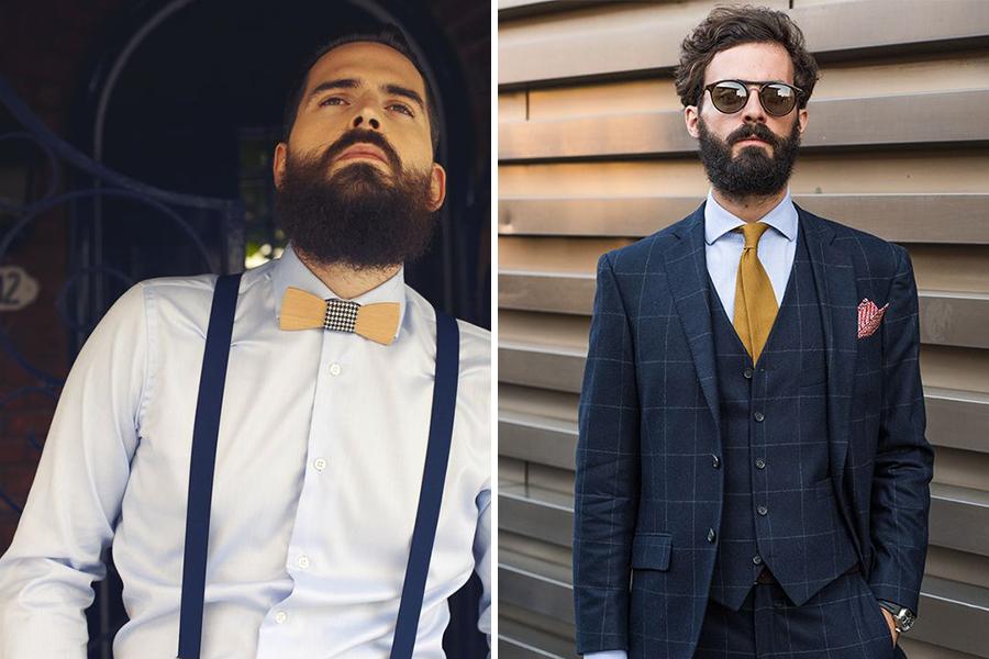 Chronique conseils barbe pour les mariés, chemise blanche et costume bleu