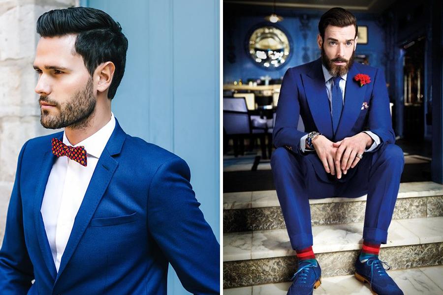 Chronique conseils barbe pour les mariés, costume bleu marine