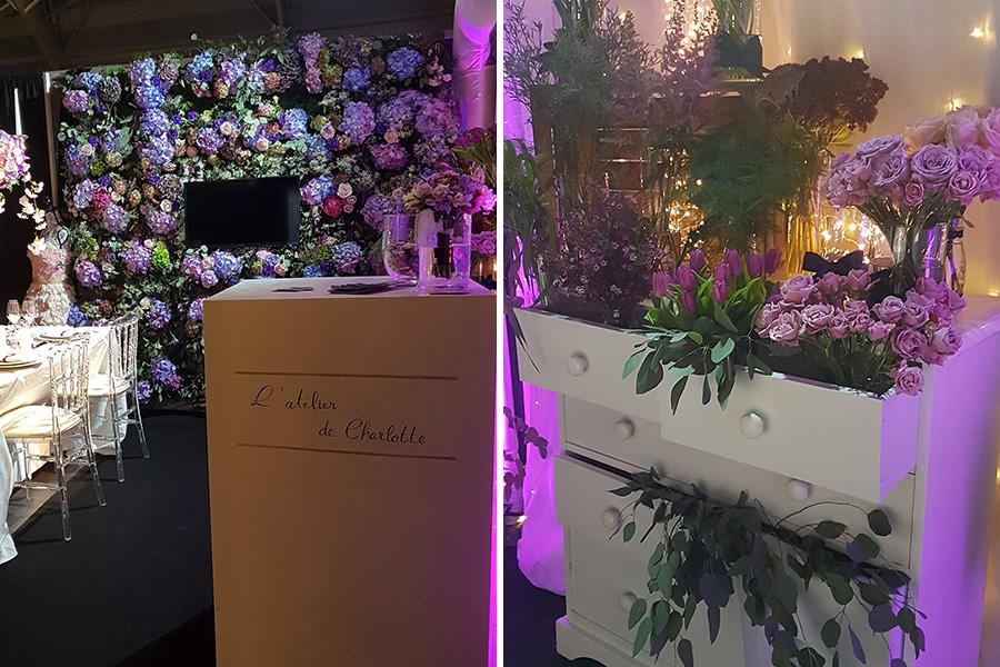 Fleuriste mariage Lyon Atelier Charlotte mur de fleurs et bars à fleurs