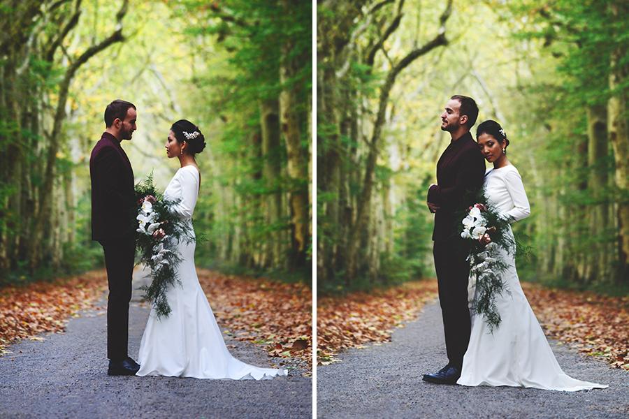 Créatrice de robes de mariée Maryline Garel shooting couple forêt