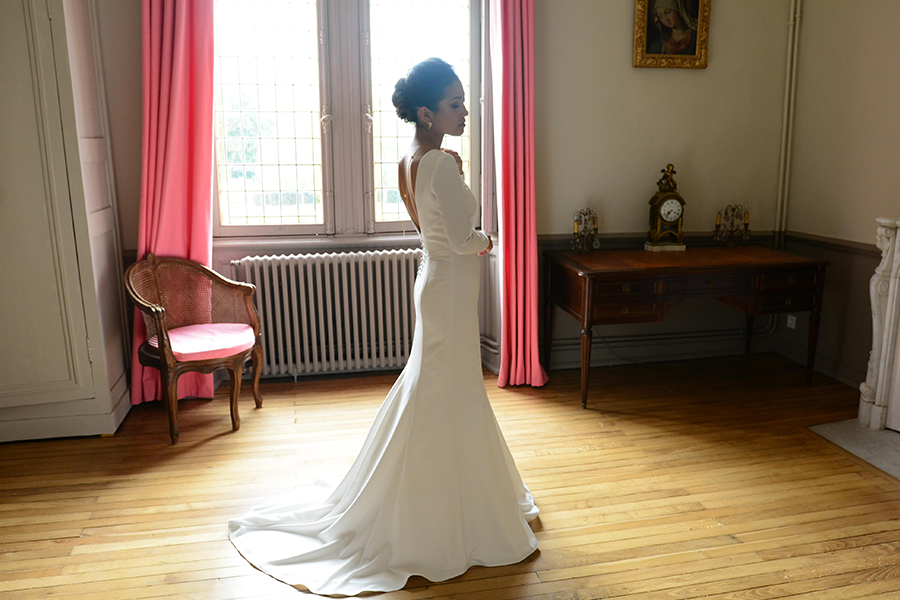 Créatrice de robes de mariée Maryline Garel shooting robe de mariée sur mesure