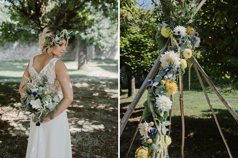 Fleuriste lyon mariage Art végétal inspiration folk décoration fleurie bouquet de la mariée