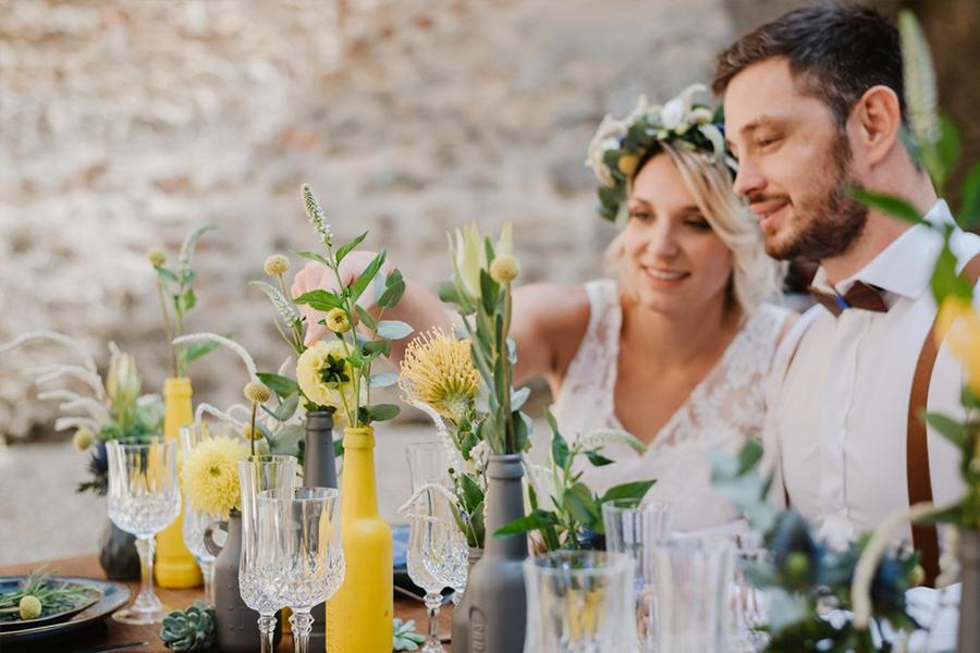 Fleuriste lyon mariage Art végétal inspiration folk décoration composition florale design de la table