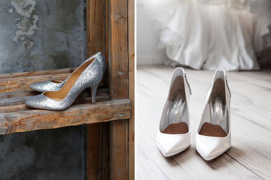 Chronique mariage à lyon chaussures d'hiver - escarpins blancs et à paillettes gris