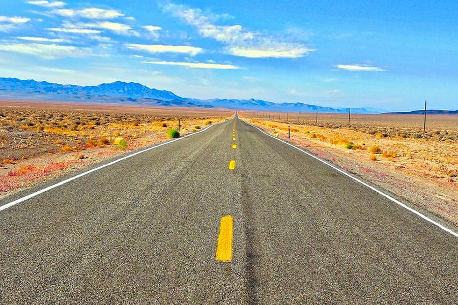 Chronique voyage de noce - paysage désert et route