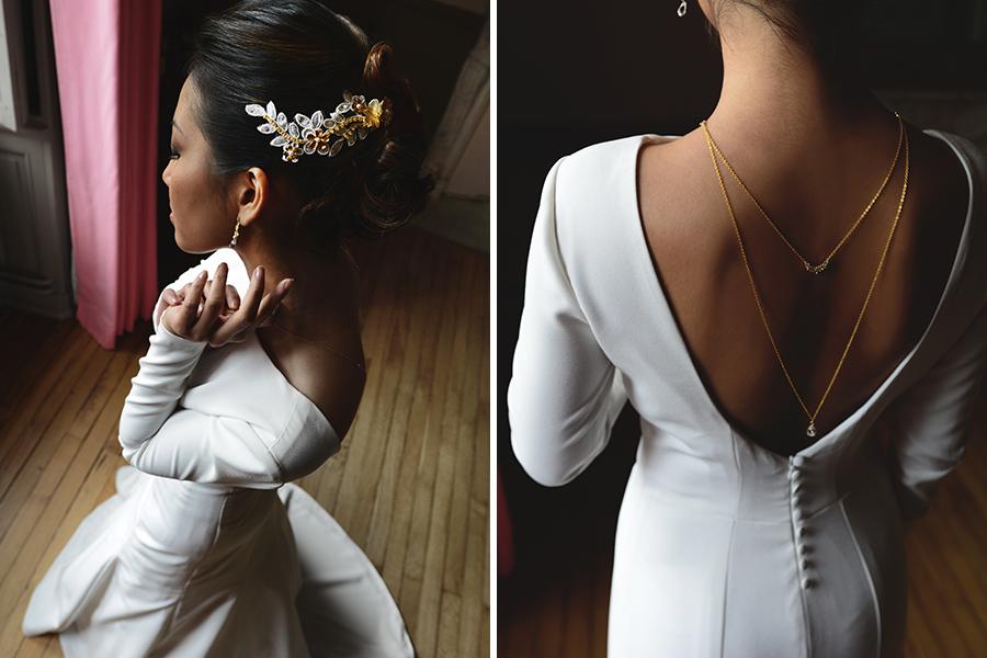 Créatrice de robe de mariée Maryline Garel bijoux parure créatrice de robes de mariée