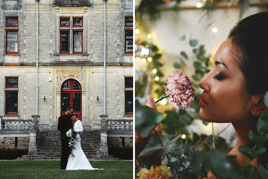 Créatrice de robes de mariée Maryline Garel shooting couple château