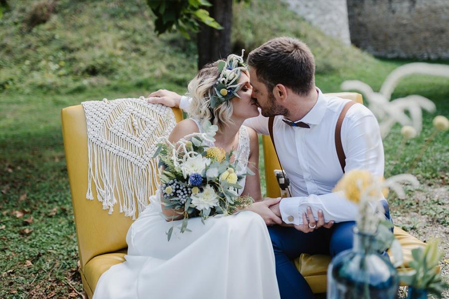 Fleuriste lyon mariage Art végétal inspiration folk bouquet de la mariée et trône des mariés UNE