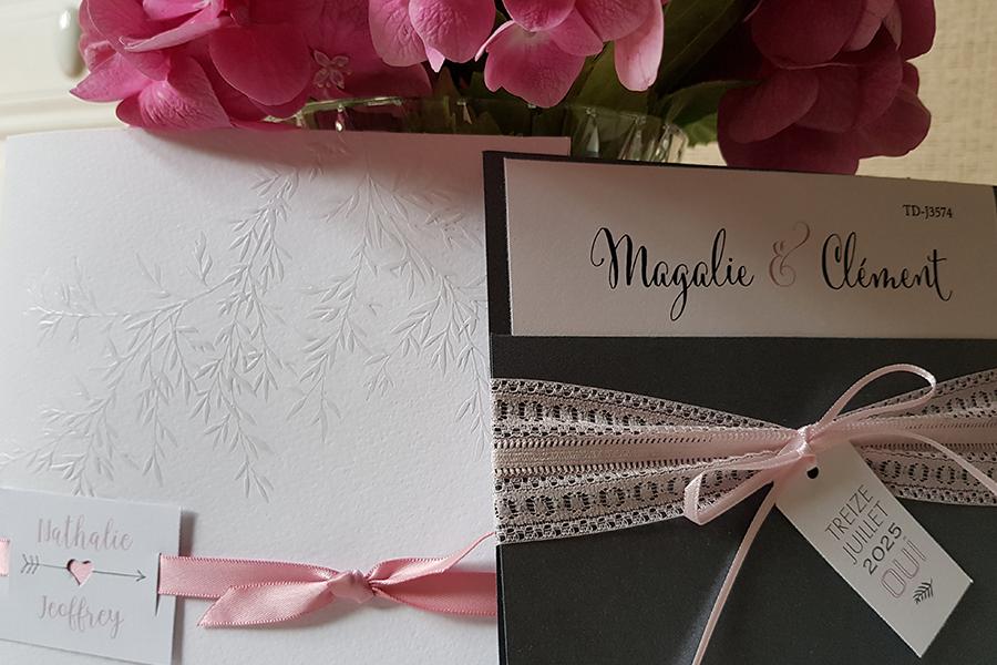 Faire part de France Lyon Mariage concours rubans roses
